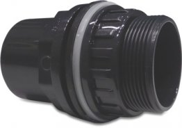 PVC-U Bulkhead Fitting 32/40mm x 1 1/4 inch Glue Socket/Glue Spigot.